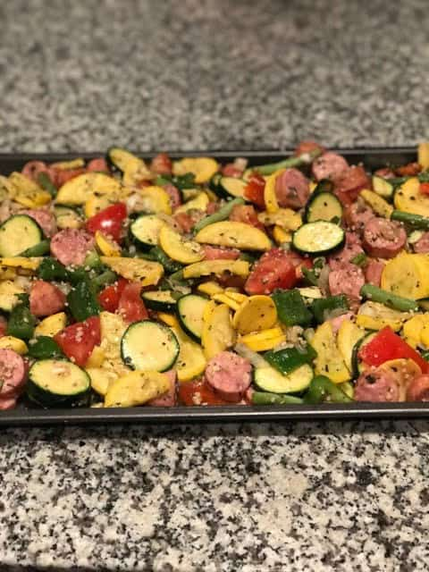 roasted vegetables and chicken sausage